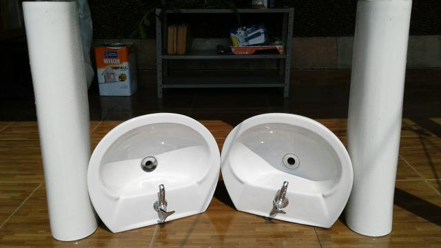 pia para banheiro x com coluna na cor creme celite  Vazlon Brasil -> Pia Para Banheiro Celite