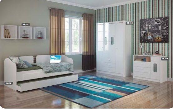 Quarto Juvenil Completo Em Madeira ~ quarto juvenil completo quarto de solteiro branco azul linho  Vazlon