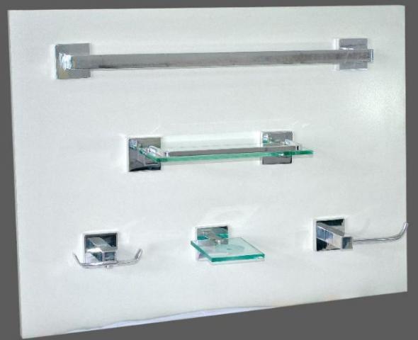 kit acessorios para banheiro em aluminio polido porta xampu  Vazlon Brasil -> Kit Acessorios Pia De Banheiro