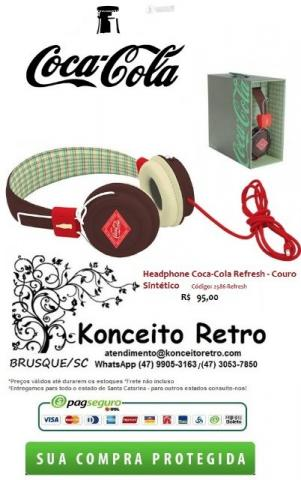 HeadPhone (Fone Ouvido) Coca-Cola Refresh/Languages - Couro