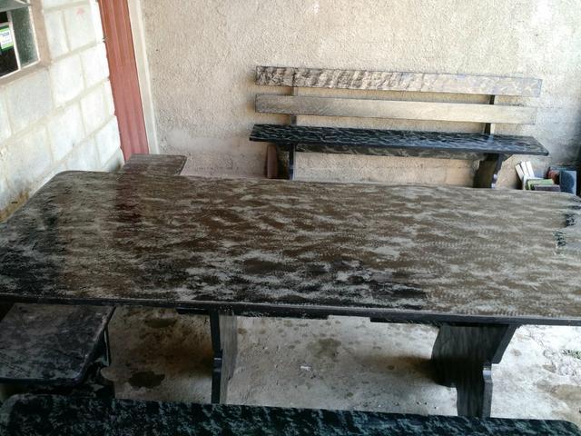 banco de jardim ardosia : banco de jardim ardosia:Mesa de ardósia de primeira