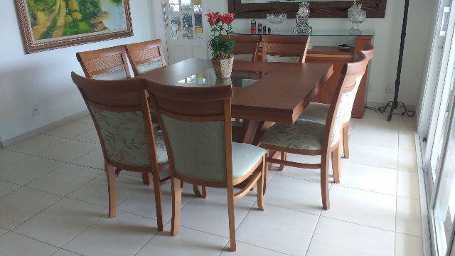 Sala De Jantar Madeira Macica ~ jogo de sala de jantar de 8 cadeiras em madeira macica  Vazlon Brasil