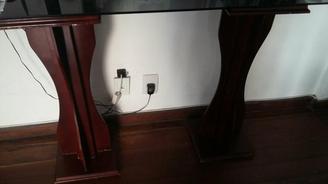 Adesivo Para Tampa De Fogao ~ aparador na cor tabaco com tampo de vidro r Vazlon Brasil