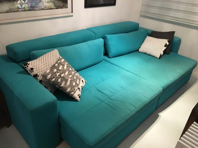Modulo puff sofa lazy sem almofada mao e formao azul for Sofa azul turquesa