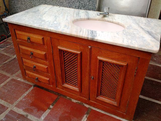 gabinete madeira com pia de marmore sem uso  Vazlon Brasil -> Pia De Banheiro Madeira