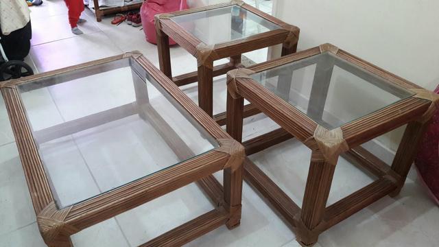 Conjunto de mesas em granito e vidro mesa de centro e mesas vazlon brasil - Mesas de rattan ...