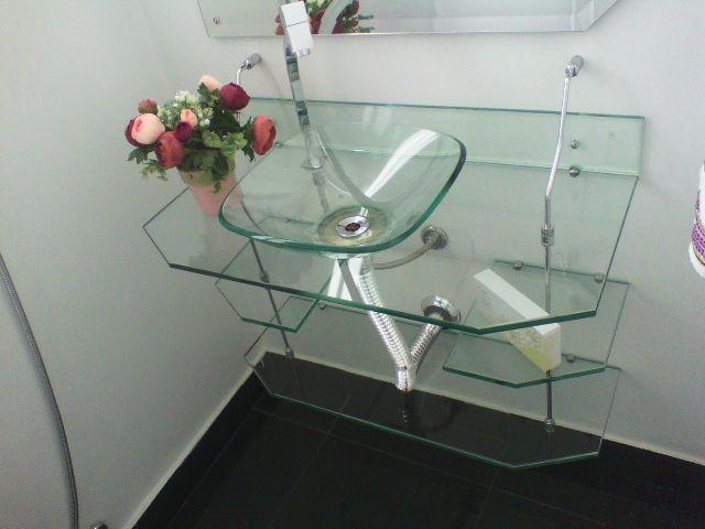 pia de vidro temperado para banheiro com cuba  Vazlon Brasil -> Banheiro Decorado Com Gabinete De Vidro
