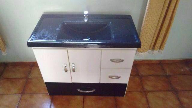 gabinete e pia de marmorite tamanho  Vazlon Brasil # Pia De Banheiro Semi Nova