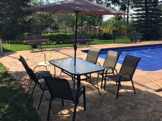 mesa jardim ombrelone:conjunto jardim miami c mesa 4 cadeiras ombrelone