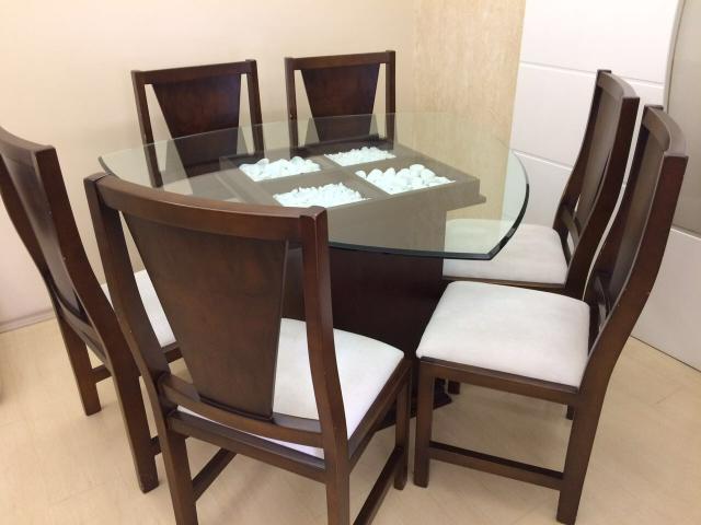 Artesanato Em Feltro ~ mesa triangular c 6 cadeiras aparador conjunto em vidro Vazlon Brasil