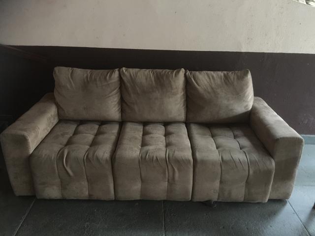 Sofa retratil tres lugares conjunto de poltronas r for Sofa 03 lugares retratil