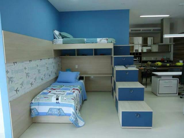 quarto planejado com escrivaninha e camas Vazlon Brasil ~ Vendo Quarto Juvenil