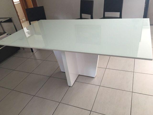Adesivo De Parede Grande ~ mesa nova tampo de vidro branco Vazlon Brasil