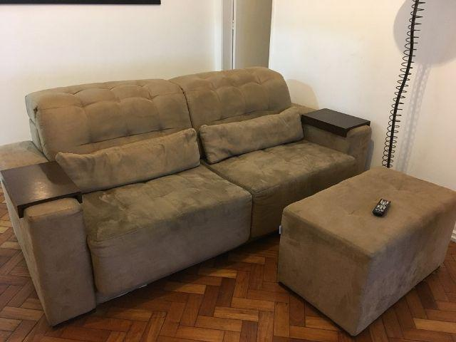 Sofa de tres lugares com puff vazlon brasil - Sofa para tres ...