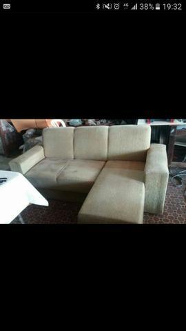 Sofa 3 lugares chaise removivel em sued cinza pes vazlon for Sofa 03 lugares com chaise