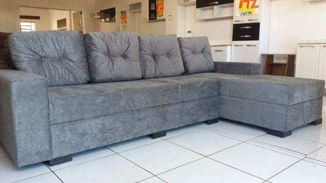 Sofa 3 lugares com chaise e puff vazlon brasil for Sofa 03 lugares com chaise