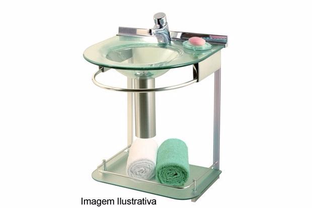 lavabo suspenso com cuba moldada e prateleira ref  Vazlon Brasil -> Pia Banheiro Cris Metal