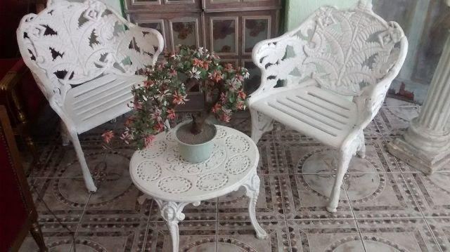 conjunto mesa e cadeiras para jardim antigo ferro Vazlon ...
