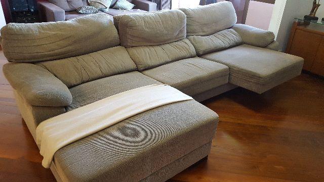 Sofa 4 lugares reclinavel chaise retratil lindo vazlon for Sofa retratil 6 lugares