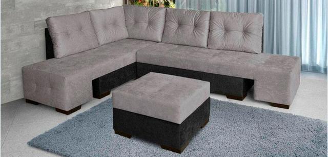 Sofa em l modular 5 lugares mais puff r vazlon brasil for Sofa cama modular