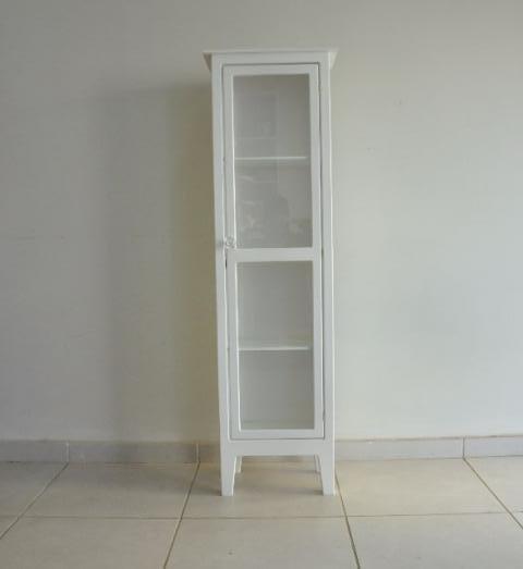 Cristaleira 1 Porta Em Mdf Madeira Crua E Pintura Branca