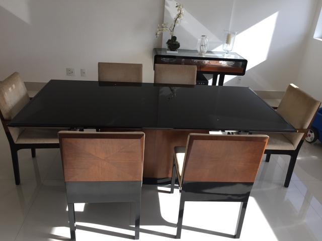 Artesanato Em Feltro ~ mesa de jantar em vidro preto com 6 cadeiras nov r Vazlon Brasil