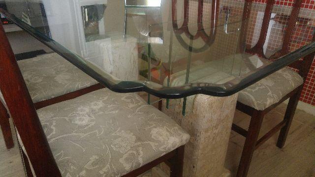 Mesa de jantar de vidro e granito com 6 cadeiras design em - Mesa de granito ...