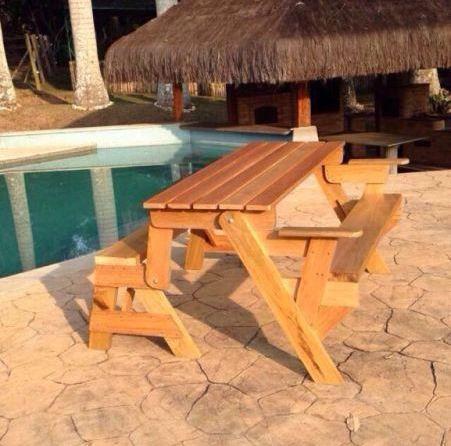 Banco madeira que vira mesa