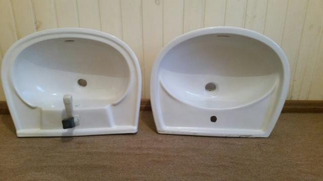 duas pias brancas de banheiro  Vazlon Brasil -> Pia De Banheiro Eternit