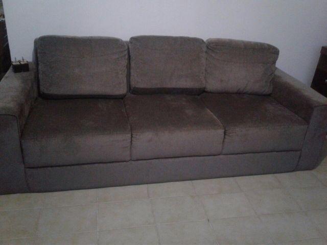 sofa eugene 3 lugares com 2 capas uma branca e outra cinza ...