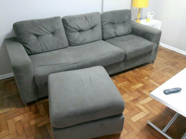 Sofa milao 4 lugares com chaise puff ofertas vazlon for Sofa 03 lugares com chaise