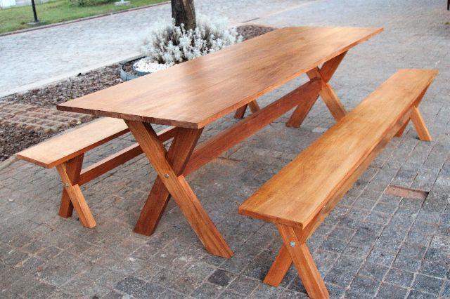 Mesa rustica pe x de madeira macica de 2 metros com 2 for Modelos de mesas rusticas de madera