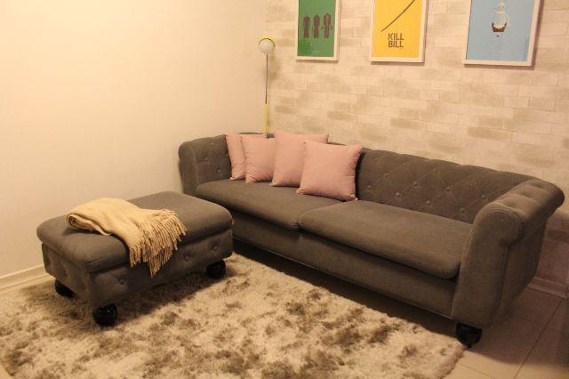 Sofa em modulo com chaise e pufe ofertas vazlon brasil for Sofa 03 lugares com chaise