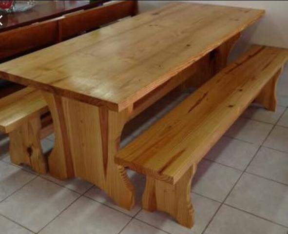 Mesa madeira pinus com ladrilho ofertas vazlon brasil for Mesa 2 metros comensales