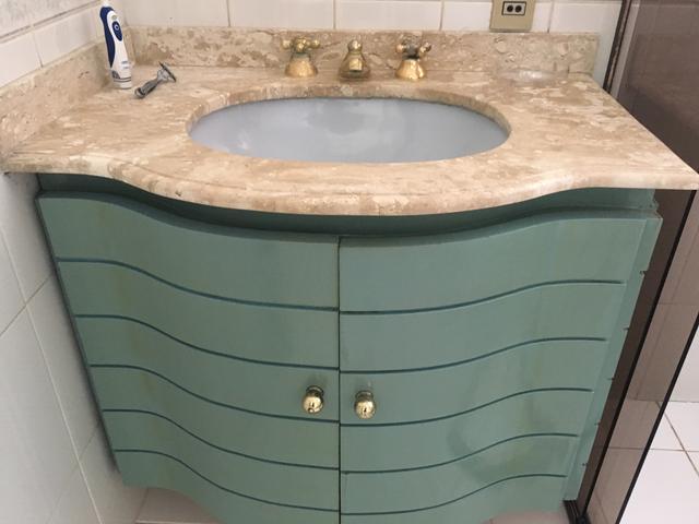 gabinete madeira com pia de marmore sem uso  Vazlon Brasil -> Gabinete De Banheiro Azul