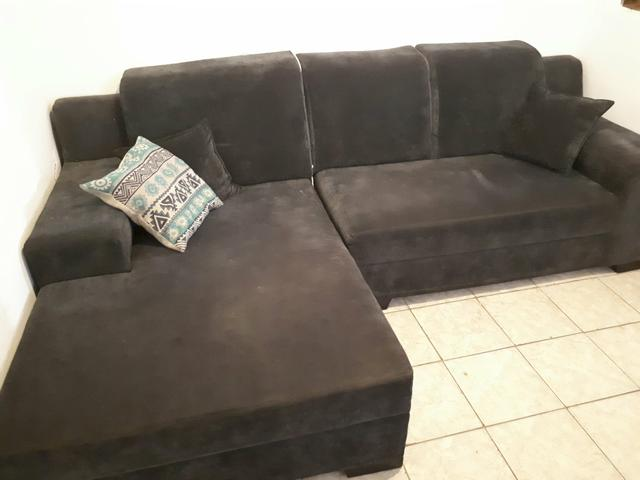 Sofa com chaise cinza c lugares novissimo ofertas for Sofa 03 lugares com chaise