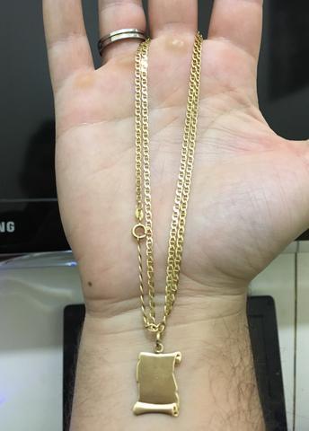 d3364400ce4 colar piastrine em ouro 18k 10gr e 60cm   OFERTAS