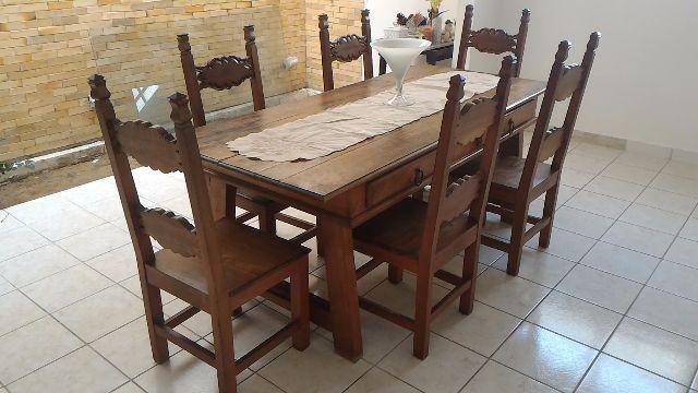 Mesa madeira macica estilo colonial ofertas vazlon for Mesas estilo colonial