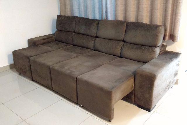Sofa 3 lugares hellen estofados opera em tecido suede com for Sofa 4 lugares retratil e reclinavel caravaggio suede amassado marrom
