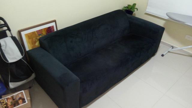 um jogo de sofa lugares azul escuro 【 OFERTAS 】   Vazlon ...