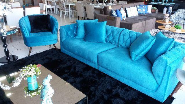Sofa retratil azul turquesa ofertas vazlon brasil for Sofa azul turquesa