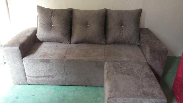 Sofa 3 lugares com chaise marrocos suede amassado vermelho for Sofa 03 lugares com chaise