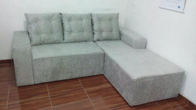 Chaise suede com puxadinho gratis almofadas decorativas for Sofa 03 lugares com chaise